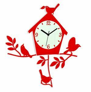 Nástěnné hodiny Birds červené