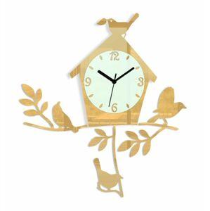 Nástěnné hodiny Birds zlaté
