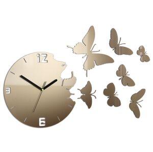 3D nalepovacie hodiny Butterfly matne zlaté